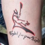 Tolles Airbrush Tattoo mit Spruch