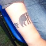 Airbrush Tattoo die Elefanten Familie