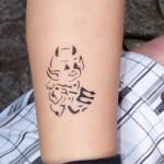 Airbrush Teufel Tattoo am Bein