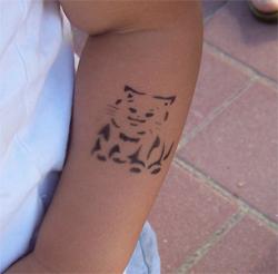 Katzen Tattoo im Kindergarten